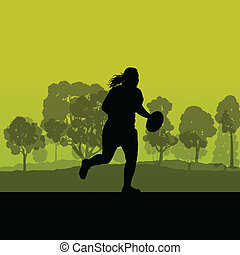femme, rugby, silhouette, dans, campagne, nature, fond, illustra