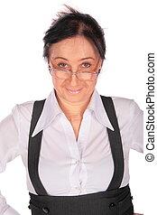 femme, rusé, lunettes