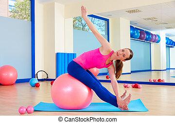 femme, séance entraînement, balle, fitball, pilates, suisse, exercice