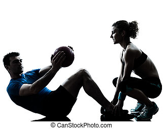 femme, séance entraînement, exercisme, balle, poids, fitness, homme