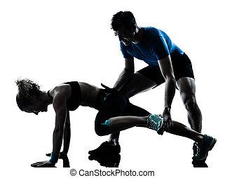 femme, séance entraînement, exercisme, fitness, jambes, homme
