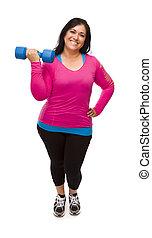 femme, séance entraînement, hispanique, haltère, levage, vêtements