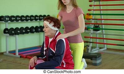 femme, séance entraînement, personnes agées, joyeux, 4k, fitness, avoir