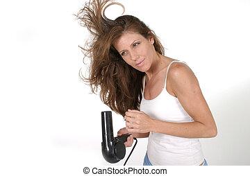 femme, sécher, cheveux, 3