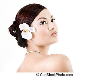 femme, séduisant, délassant, asiatique
