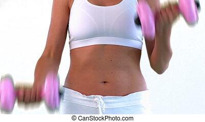 femme, séduisant, exercice, esprit
