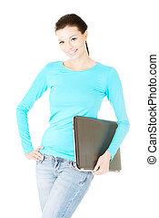 femme, séduisant, laptop.
