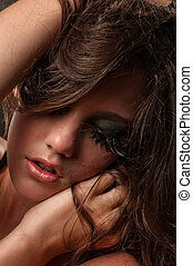 femme, séduisant, maquillage, extrême