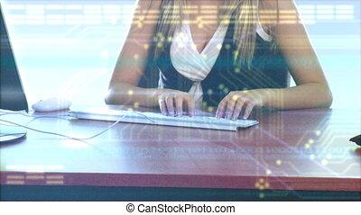 femme, séduisant, utilisation, elle, ordinateur portable