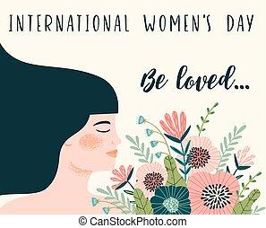 femme s, day., flowers., vecteur, gabarit, international, femmes