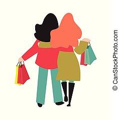 femme, sacs, shoppers, achats, dos, porter, illustration, vue