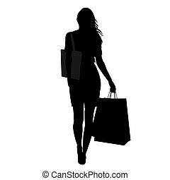 femme, sacs, silhouette, achats