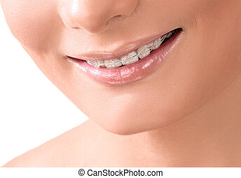femme, sain, dentaire, blanchir, dents, sourire, soin, sourire,  concept,  closeup