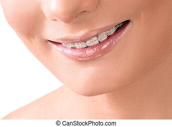 femme, sain, dentaire, whitening., dents, sourire, soin, smile., concept., closeup.