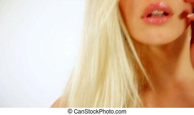 femme, sain, projection, studio, cheveux, magnifique, sexy, brillant