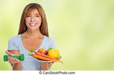 femme saine, fruits., légumes