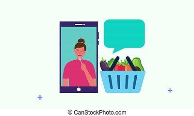 femme saine, smartphone, nourriture, panier