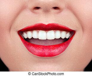 femme saine, smile., dents