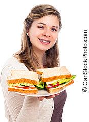 femme, sandwichs, heureux