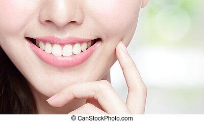 femme, santé, jeune, dents