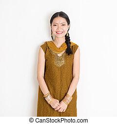 femme, sari, indien, chinois