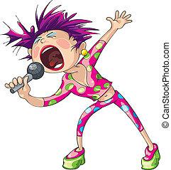 femme, sauter chanteur