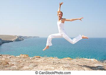 femme, sauter