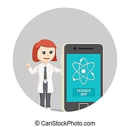 femme, science, app, scientifique, fond, cercle