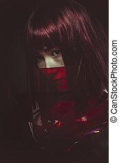 femme, science, armure, cyborg, avenir, rouges, fiction, sensuelles