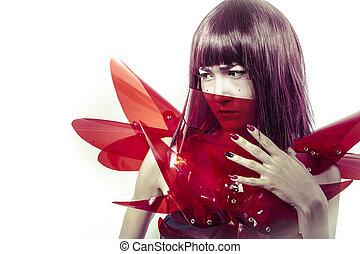 femme, science, armure, cyborg, avenir, sensuelles, innovation, fi, rouges