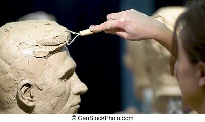 femme, sculpture, sculpteur, head., work., humain