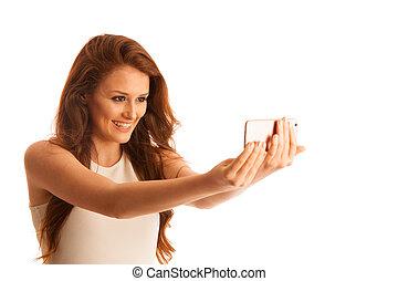 femme, selfie, isolé, téléphone, confection, blanc, sur, intelligent