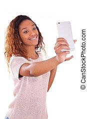 femme, selfie, prendre, -, jeune, américain, b, africaine, portrait, soi