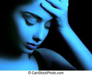 femme, sentiment, dépression, triste