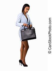 femme, serviette, business