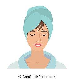 femme, serviette, figure