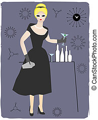 femme, servir, cocktail, boisson