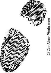 femme, shoeprint