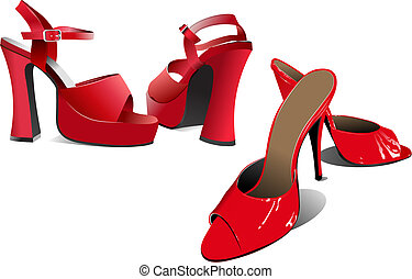 femme, shoes., illustration, vecteur, mode, rouges