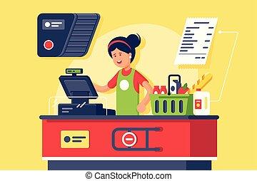 femme, shop., caissier, jeune, supermarché, lieu travail, sourire