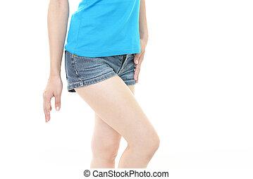 femme, shorts bleu, jean
