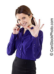 femme, signe, business, jeune, ok, indiquer
