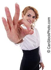 femme, signe, business, ok, projection