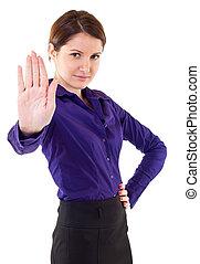 femme, signe, confection, business, sérieux, arrêt