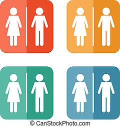 &, femme, signe, homme, toilettes