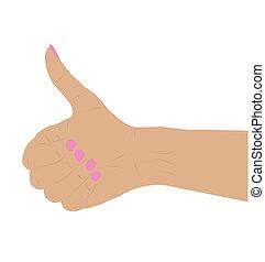 femme, signe main