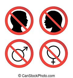 femme, signe, non, homme