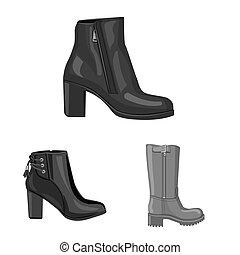 femme, signe., web., bitmap, mettez stylique, chaussures, pied, symbole, stockage