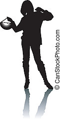 femme, silhouette, élégance, main