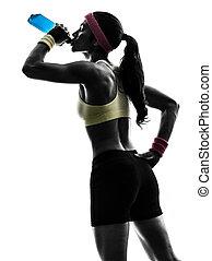 femme, silhouette, énergie, fitness, boire, exercisme, boisson